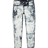 Mid wash spray bleach Flynn skinny jeans