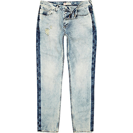 Light acid wash stripe Flynn skinny jeans