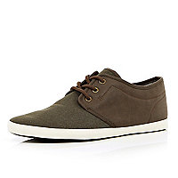 Brown two-tone lace up trainers