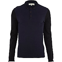 Navy colour block long sleeve polo shirt