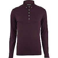 Berry long sleeve polo shirt