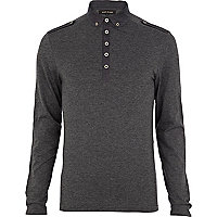 Grey military penny collar polo shirt