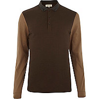 Brown colour block long sleeve polo shirt