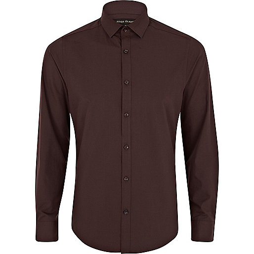 Brown long sleeve poplin shirt