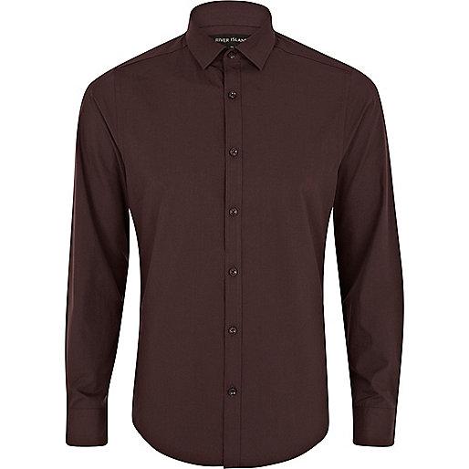 Brown long sleeve poplin shirt
