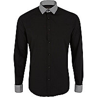 Black tiny dogtooth trim long sleeve shirt