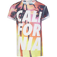 Orange California palm print t-shirt