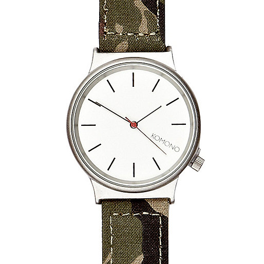 Green camo print Komono watch