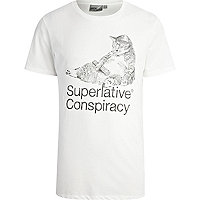 White WeSC superlative conspiracy t-shirt