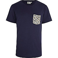 Navy WeSC leopard print pocket t-shirt
