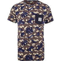 Grey WeSC animal print pocket t-shirt