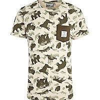 Ecru WeSC animal print t-shirt