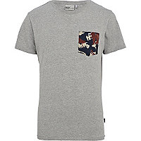 Grey WeSC contrast animal pocket t-shirt