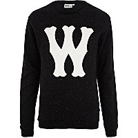 Black WeSC W print neppy sweatshirt