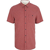 Red ditsy print short sleeve shirt