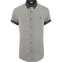 Grey ditsy print contrast collar shirt