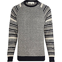 Navy fairisle raglan sleeve jumper