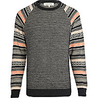Grey fairisle raglan sleeve jumper