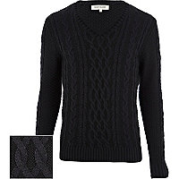 Navy chunky cable knit V neck jumper