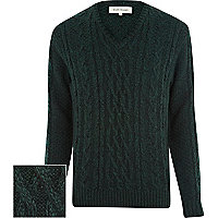 Green chunky twist cable knit jumper