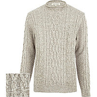 Ecru cable knit roll neck jumper