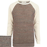 Ecru textured jersey sleeve jumper