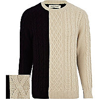 Ecru colour block cable knit jumper