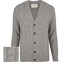 Grey cable twist V neck cardigan