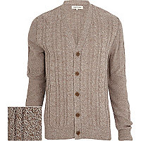 Brown cable twist knit V neck cardigan