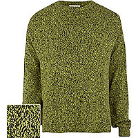 Lime fleck knit oversized jumper