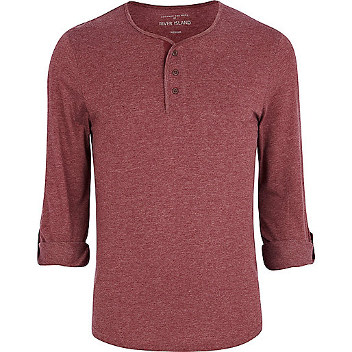 Red marl roll sleeve grandad t-shirt