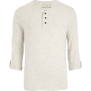 Ecru marl roll sleeve grandad t-shirt