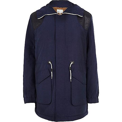 Navy WeSC padded parka jacket