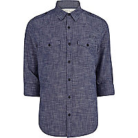 Navy cross hatch military shirt