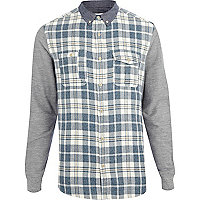 Blue check contrast sleeve shirt