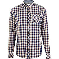 Red check contrast panel shirt