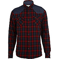 Red check denim patch shirt