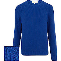 Cobalt blue textured jumper