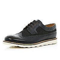 Dark navy contrast panel brogues