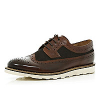 Brown contrast panel brogues