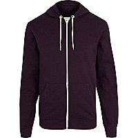 Dark purple zip through hoodie