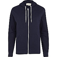 Navy blue zip through hoodie