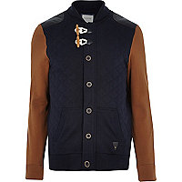 Navy contrast sleeve toggle front jacket