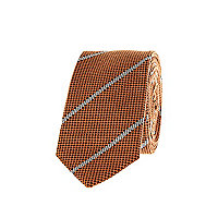 Orange textured diagonal stripe tie
