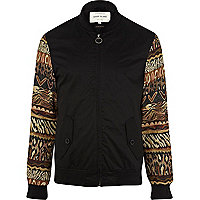 Black tapestry sleeve bomber jacket