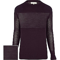 Purple mesh panel jumper