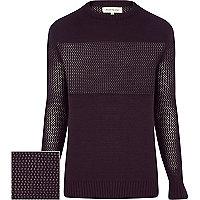 Purple mesh panel jumper