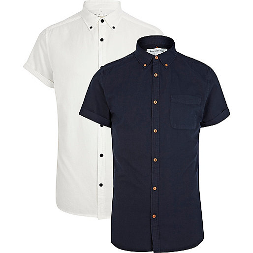 Navy and white Oxford shirt pack