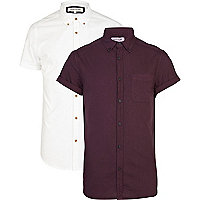 Dark berry and white Oxford shirt pack