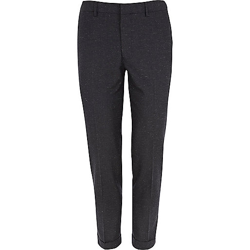 Dark blue neppy skinny ankle grazer trousers